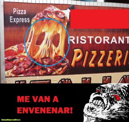 calavera,demonio,maligna,pizza,queso,raisins