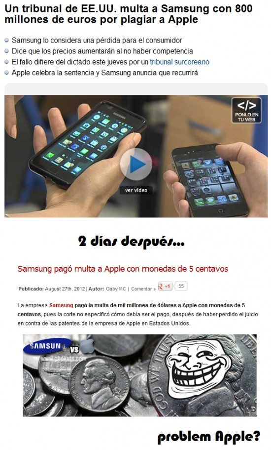 Trollface - Samsung trolleando a Apple