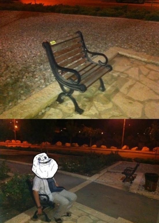 Forever_alone - El banco de plaza apropiado para Forever Alone