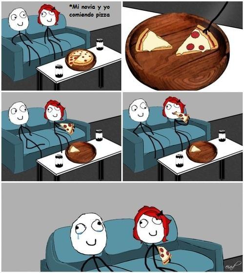 chica,chico,peperonni,pizza,relaciones