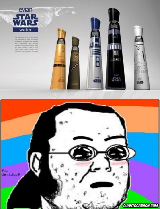 agua,amazed,botellas,evian,friki,star wars