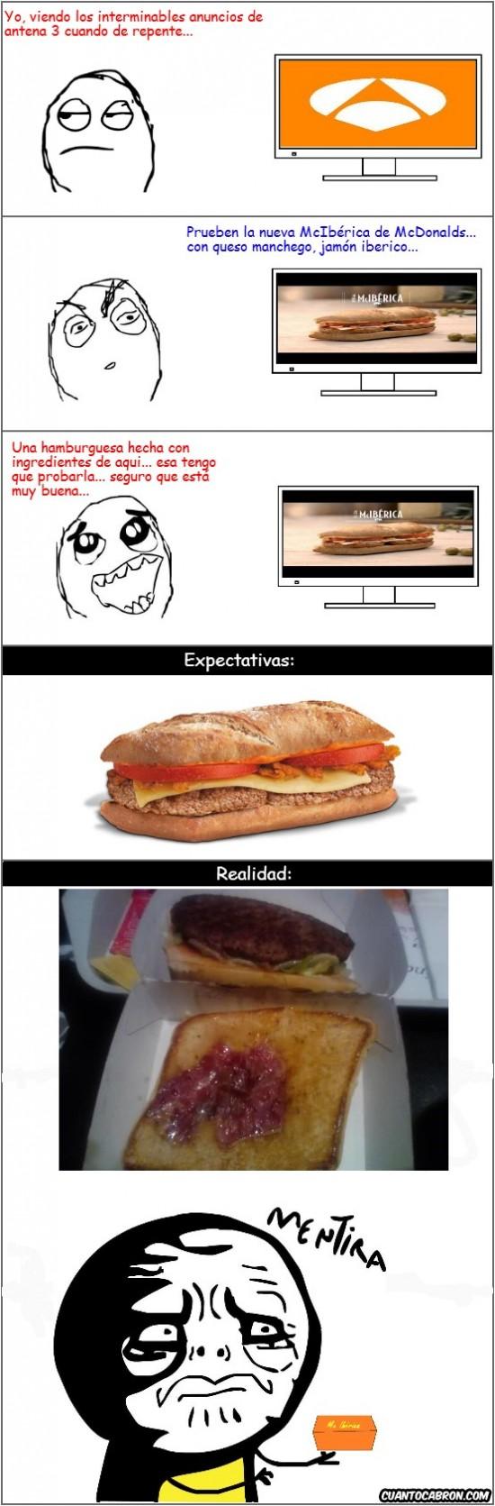 Mentira - Photoshop en los anuncios de Mcdonalds