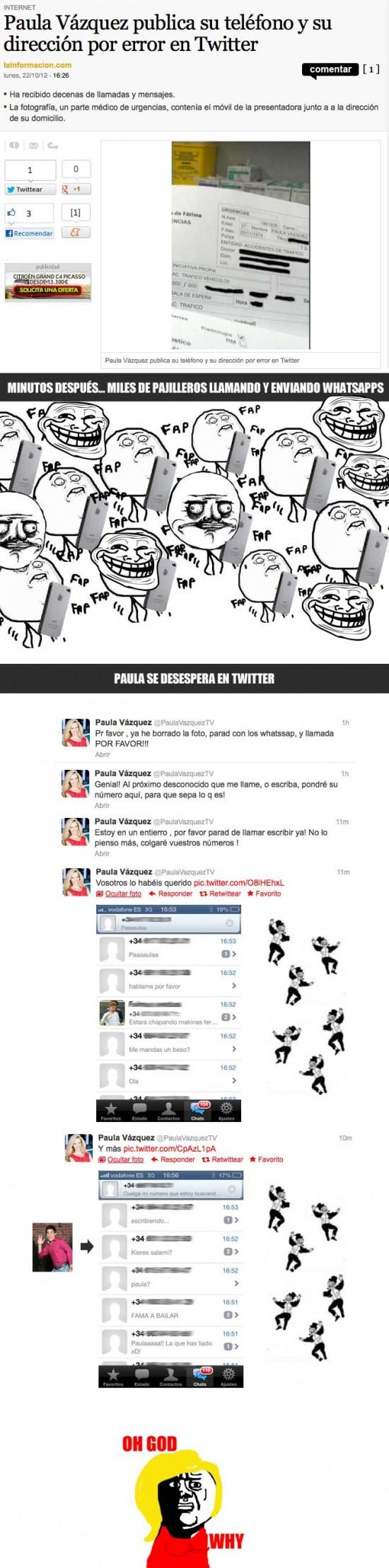 descuido,llamadas,paula vazquez,trolls,twitter,whatsapp