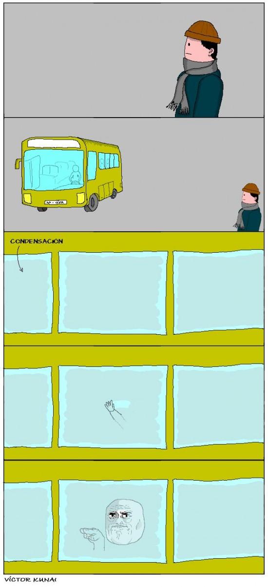 bus,condensación,hombre,im watching you,víctor kunai