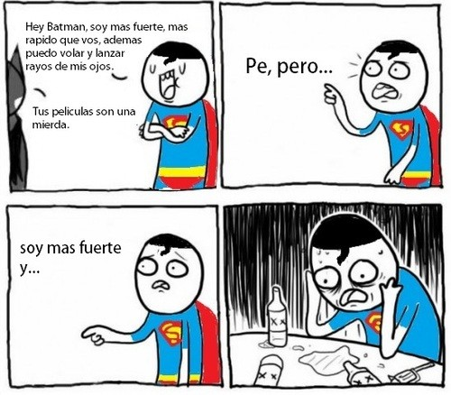 alcoholico depresivo,batman,mierda,película,superhéroe,superman