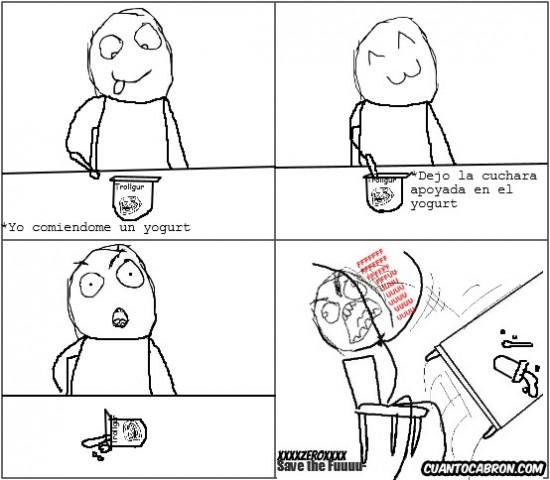 caerse,cuchara,desk flip,Rage guy,yogur
