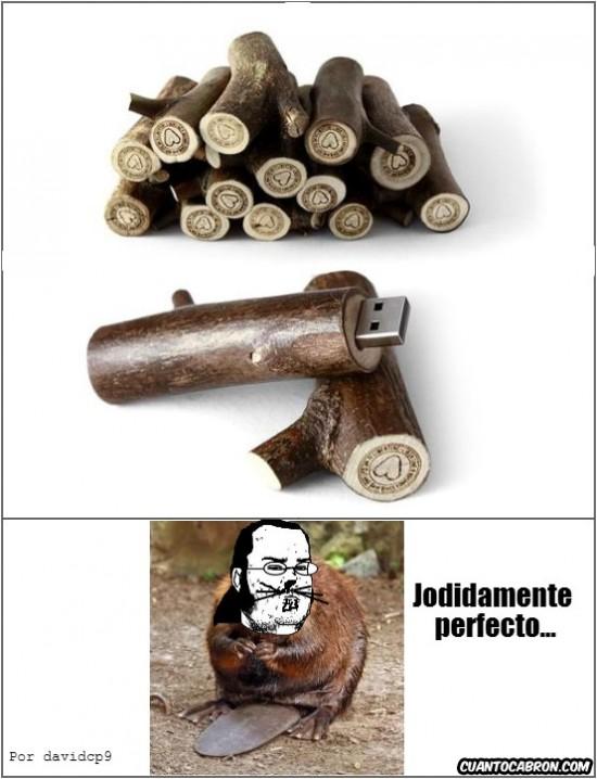 castor,friki,madera,tronco,usb