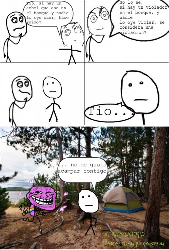 acampada,acampar,arbol,bosque,caer,mete saca,poker face,violador