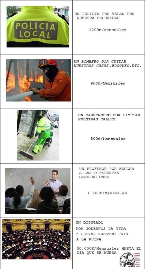 barrendero,dinero,policías,políticos,profesor,salario,sueldos