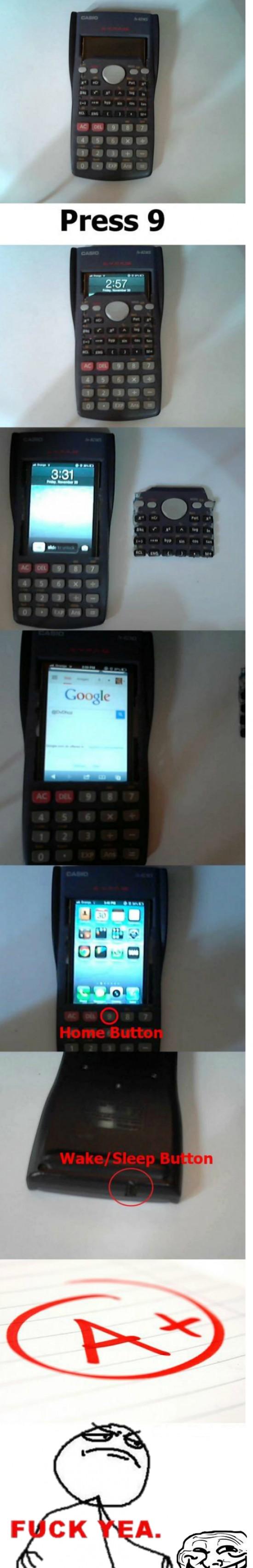 calculadora,escondido,fuckyea,iphone,movil,ninja,smartphone,troll