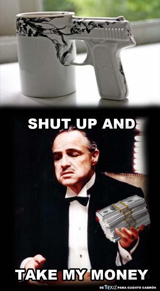 desayuno,el padrino,leche,pistola,shut up and take my money,taza