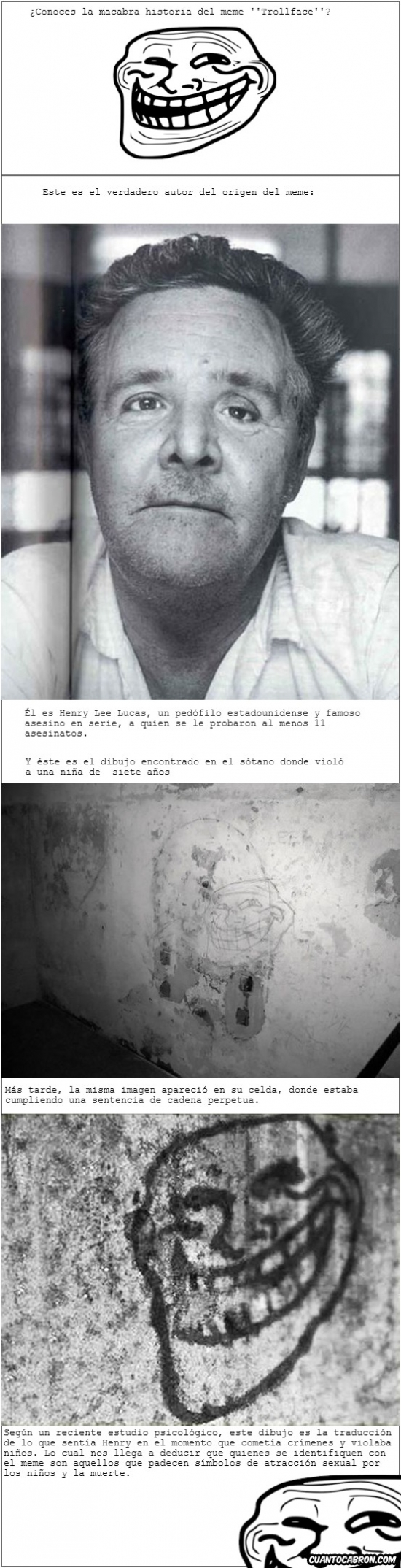carcel,dibujo,henry lee lucas,historia,macabra,origen,pared,sotano,trollface,violador