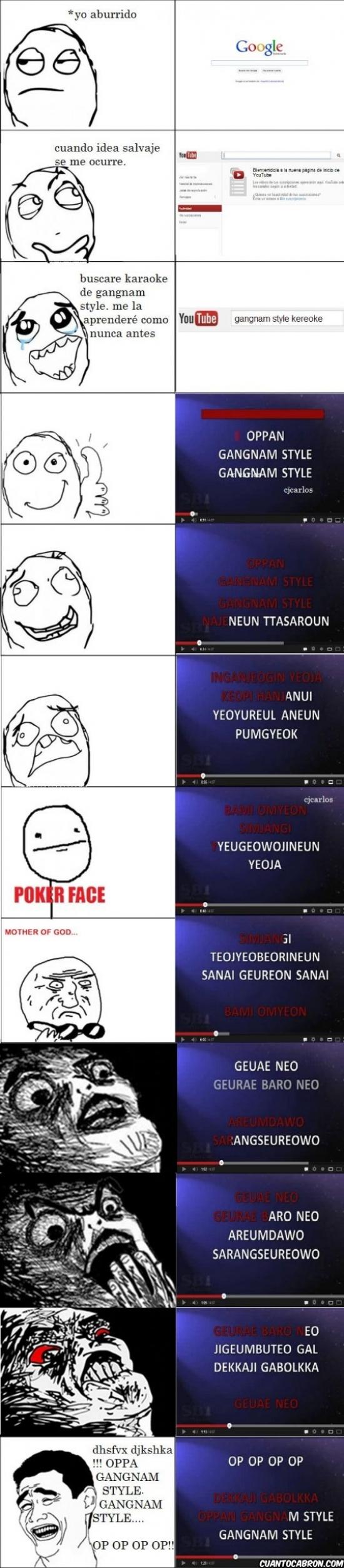 coreano,gangnam style,karaoke,letra imposible,poker face,psy,youtube