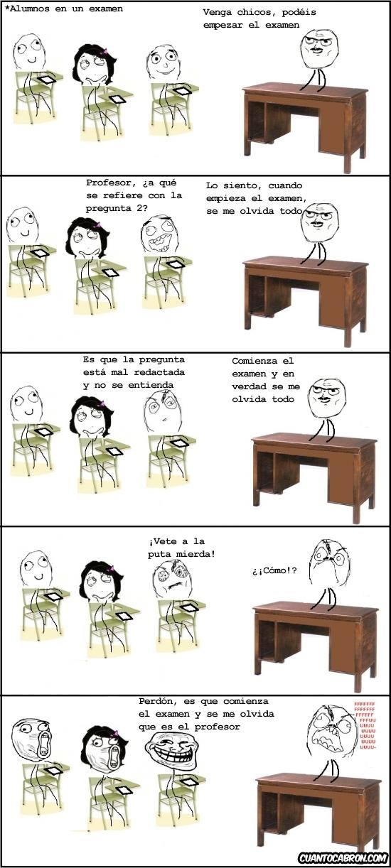 examen,LOL,profesor,rage guy,salón de clases,trollface
