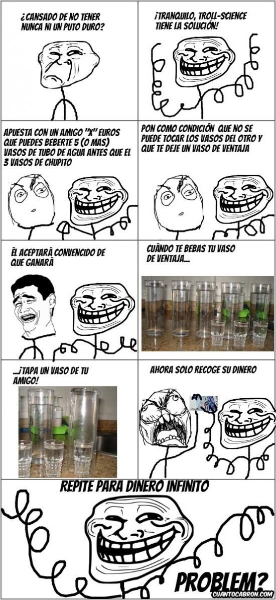 agua,apuesta,chupito,dinero infinito,troll,troll science,vaso de tubo