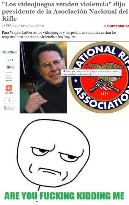 are you fucking kidding me,armas,asociacion nacional del rifle,usa,videojuegos,violencia