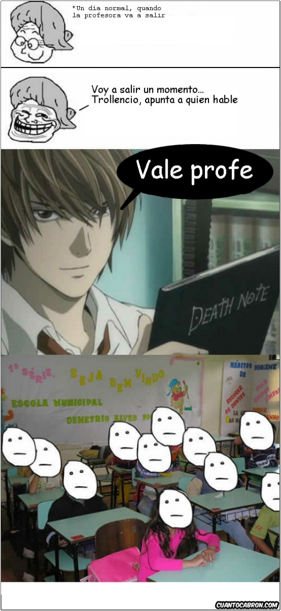 apuntar,clase,Death Note,Kira,Light Yagami,nombres,professora