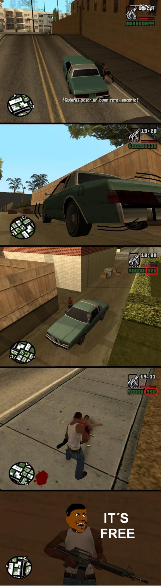 CJ,Grand Theft Auto,GTA,It's free,Prostituta,San Andreas