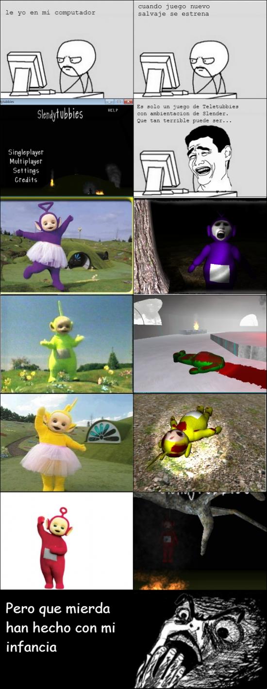 infancia,miedo,slender,slendytubbies,teletubbies,terror,videojuego