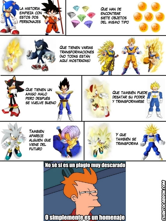 Goku,Homenaje,Plagio,Sega,Shadow,Silver,Sonic,Trunks,Vegeta