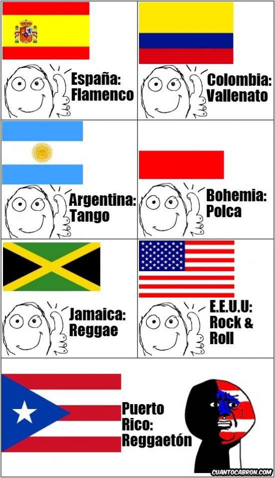 Argentina,Bohemia,Colombia,E.E.U.U,España,Flamenco,Jamaica,Polca,PuertoRico,Reggae,Reggaetón,Rock,Tango,Vallenato