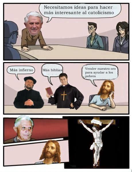 biblias,Catolicismo,Empresa,infierno,Jesús,junta de accionistas,Papa,vender oro,ventana