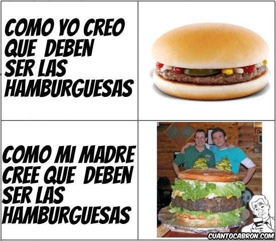 Otros - El relativo tamaño de las hamburguesas