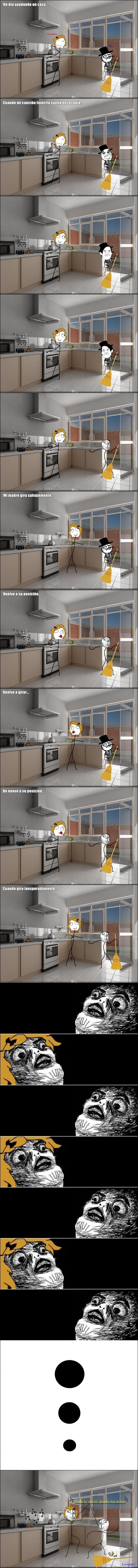 bailar,bailar en la cocina,barrer,cocina,cuando no me ve,escobra,lol,macarena,madre