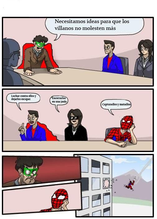 junta de accionistas,lanzar por la ventana,spiderman,superman,tela de araña
