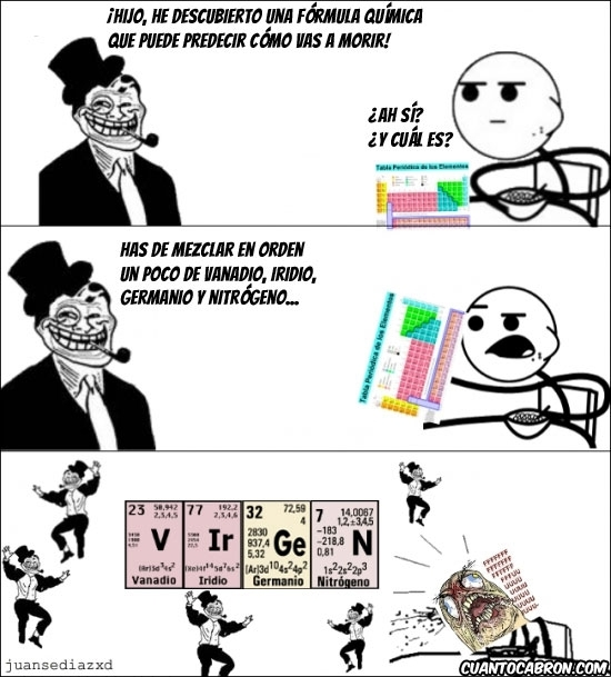 cereal guy,formula quimica,germanio,iridio,nitrogeno,tabla periodica,trolldad,vanadio,virgen