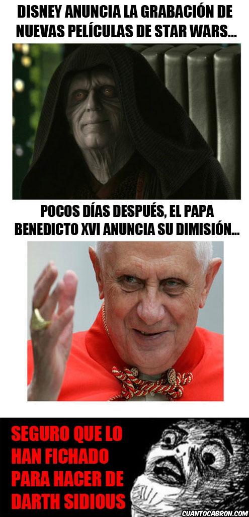 darth sidious,dimision,disney,nuevas peliculas,papa benedicto xvi,star wars