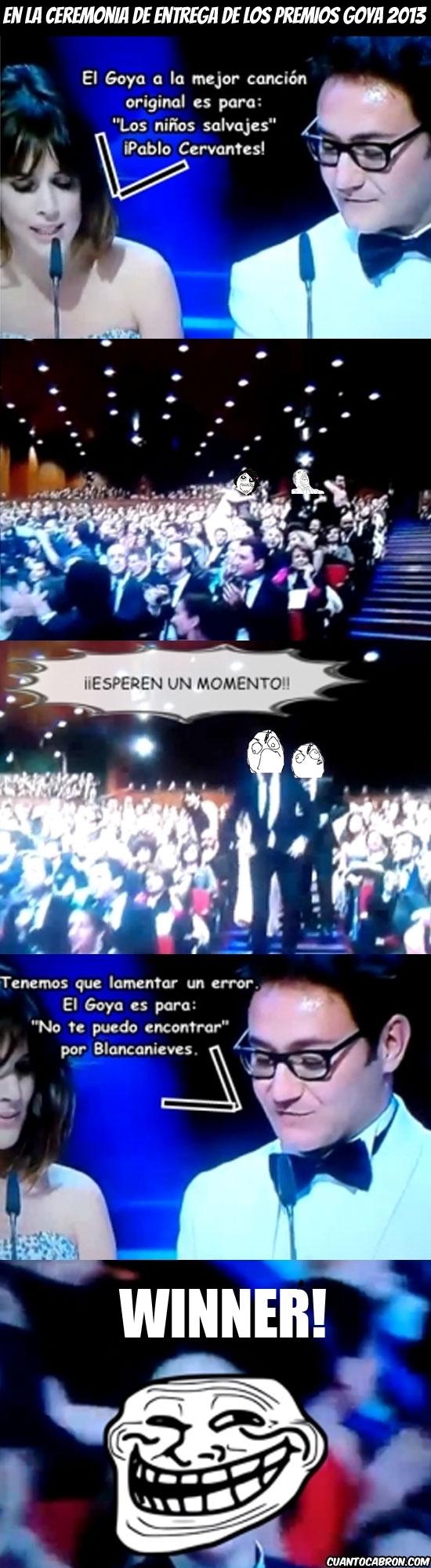Trollface - Error en los premios Goya 2013