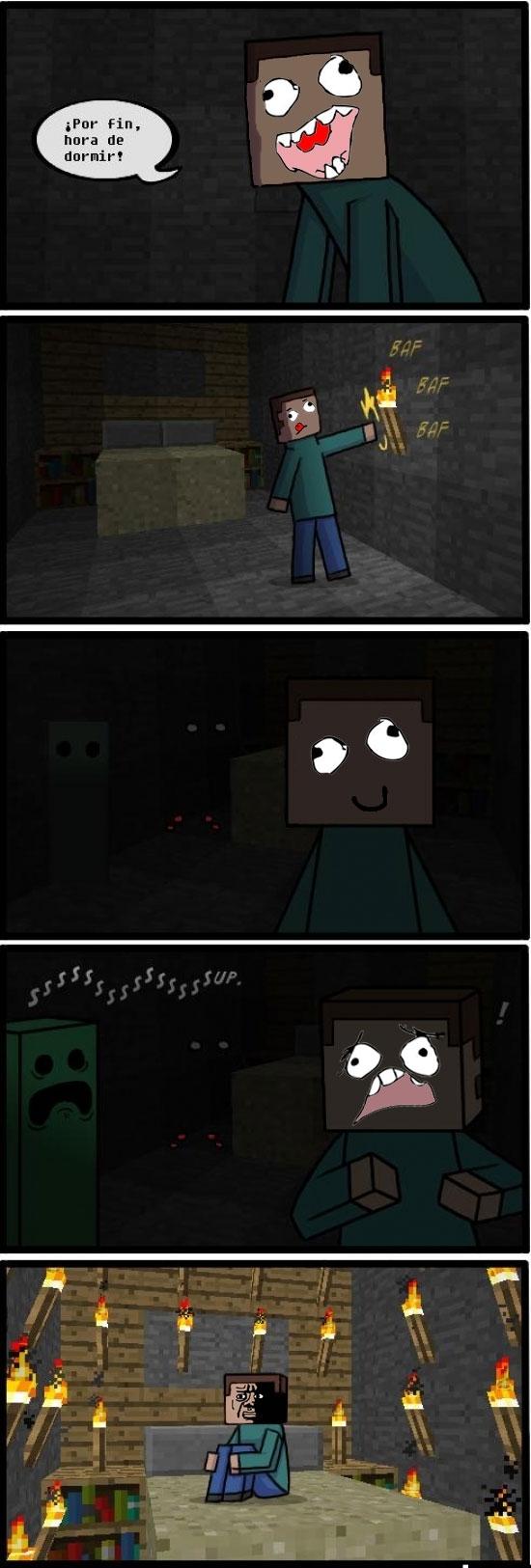 Ffffuuuuuuuuuu - ¿Slenderman? Prueba a dormir en Minecraft sin luz