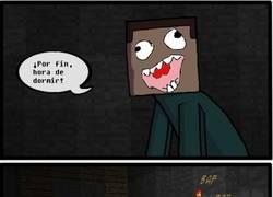 Enlace a ¿Slenderman? Prueba a dormir en Minecraft sin luz