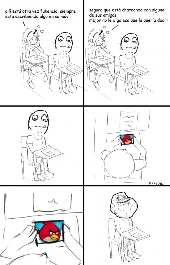 angry birds,clase,forever alone,fuckencia,móvil,whatsapp