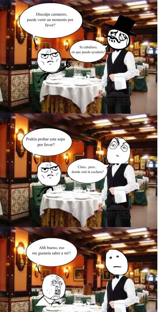 camarero,cuchara,pokerface,restaurante,sopa,yuno
