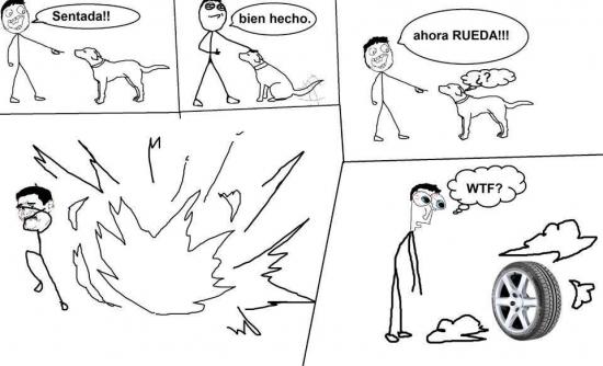 explosion,humor absurdo,neumatico,perro,rueda,sientate,transformacion