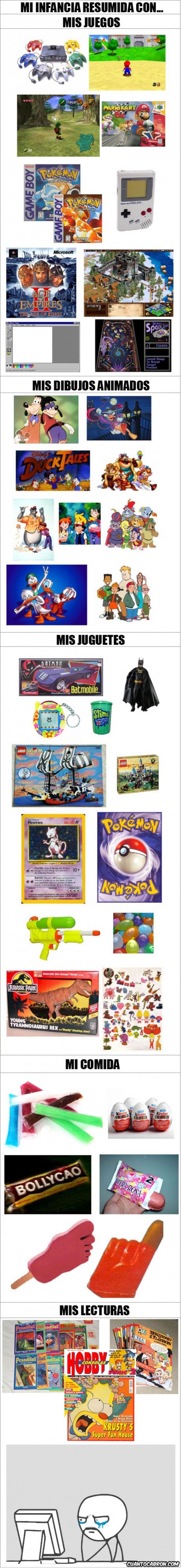 años 90,buenos recuerdos,comida,dibujos animados,infancia,juegos,juguetes,lecturas,nostalgia,resumida
