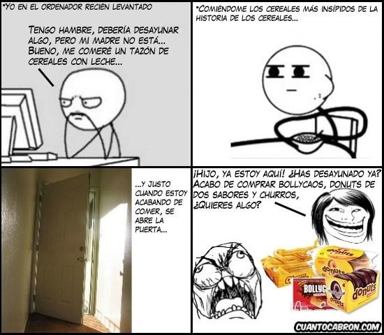 bollycao,cereal guy,cereales,churros,donuts,fffuuu,ordenador,rage guy