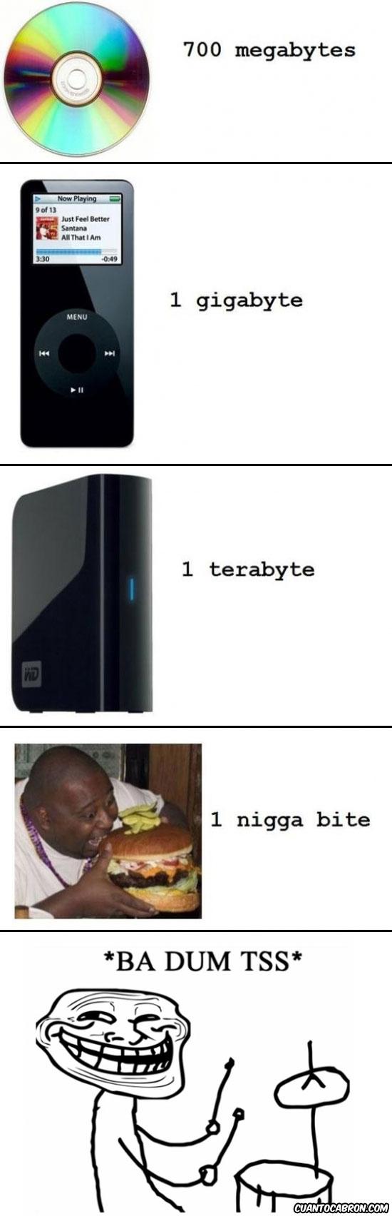 ba dum tss,cd,comer,disco duro,gigabytes,hamburguesa,ipod,megabytes,morder,mp3,negro,nigga bytes,niggabytes,terabytes