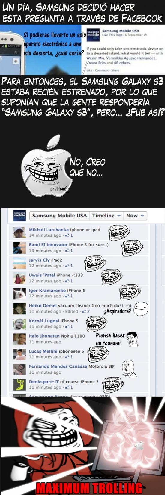 Trollface - Hipsters trolleando a Samsung