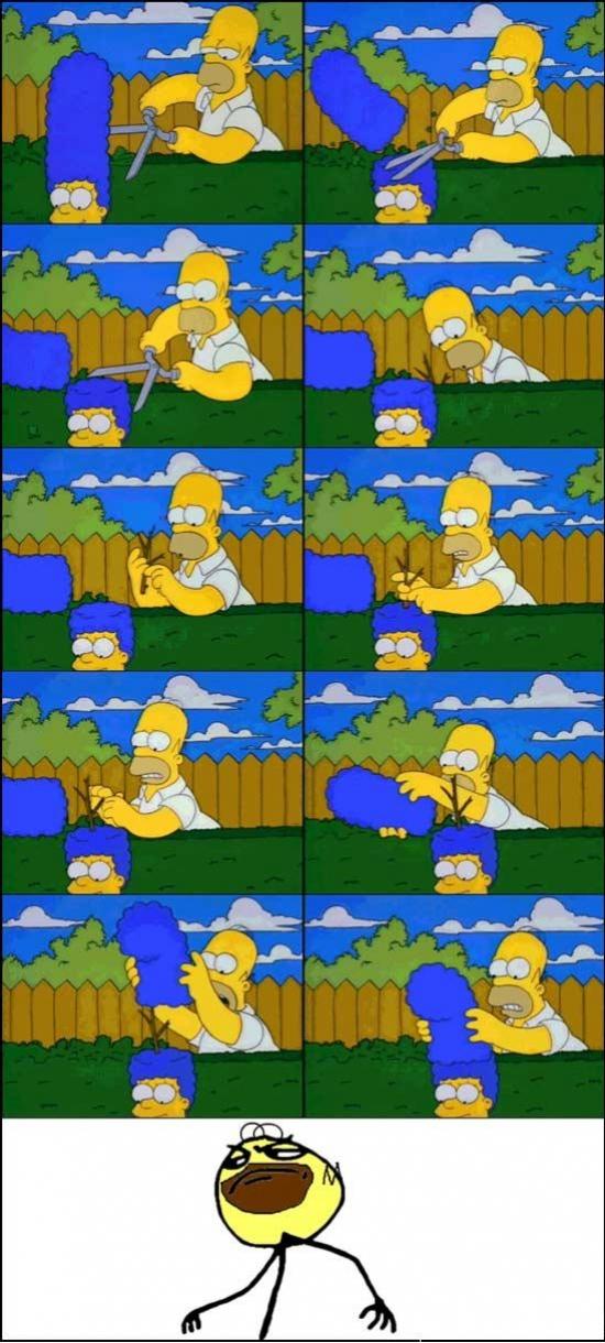Fuck_yea - Homer podando los arbustos