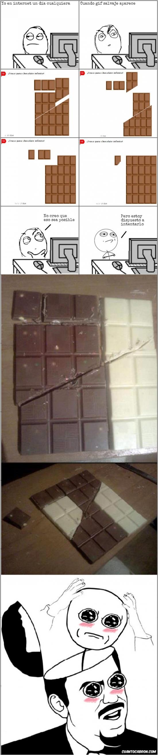 amazed,are you serious,chocolate infinito,ilusion,inesperado,kidding me,truco
