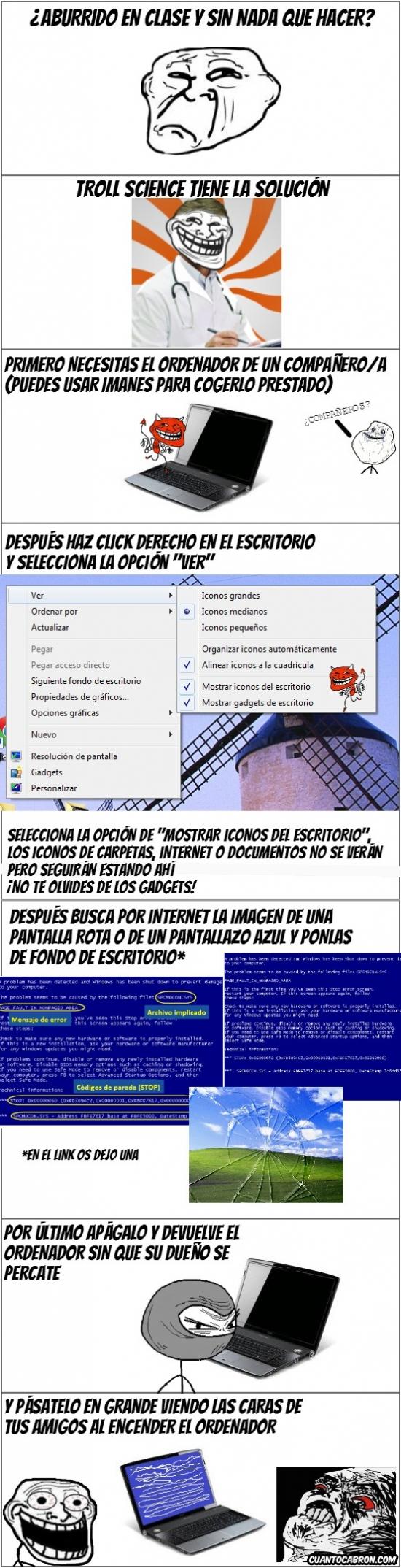 Trollface - Trollscience y el truco del pantallazo azul de Windows