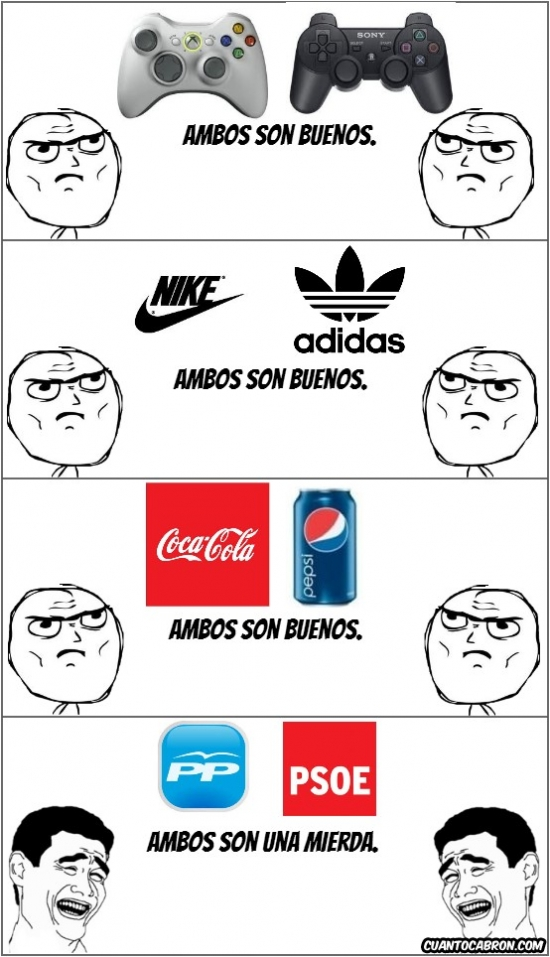 adidas,coca cola,España,nike,partidos,pepsi,playstation,política,políticos,pp,psoe,rivales,xbox