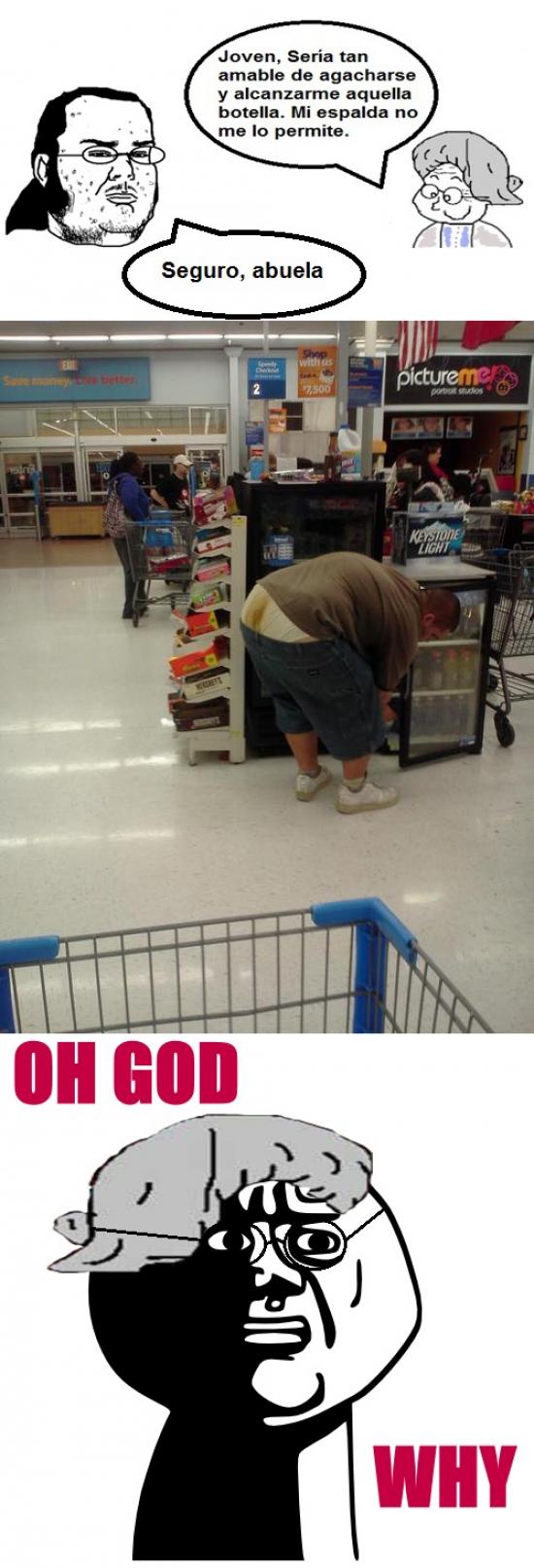 abuela,caca,friki,gordo,oh god why,supermercado