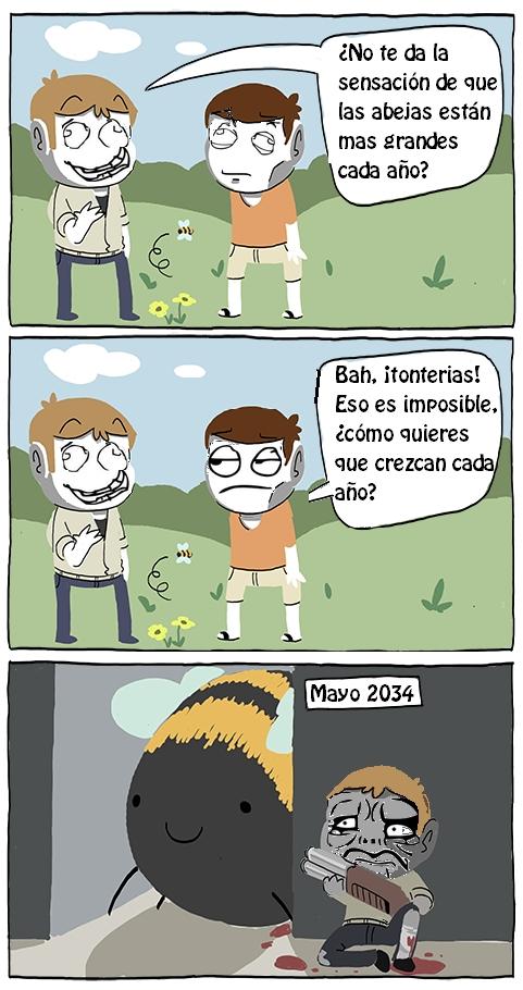 2034,abeja,apocalipsis,crecer,escopeta,mentira,recortada