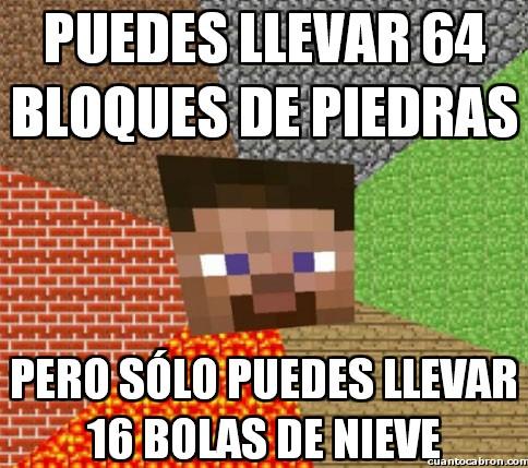 Minecraft - Puedes llevar 64 bloques de piedras