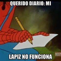 escribir,lápiz,no funciona,papel,spiderman