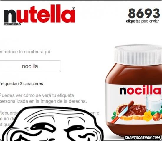 Trollface - No deberías dejar modificar tus etiquetas, Nutella, puede haber trolls cerca